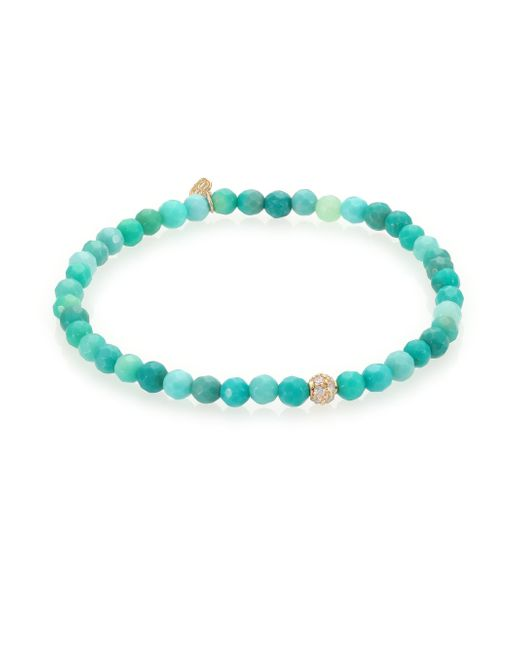 Sydney Evan | Blue Diamond, Green Opal & 14k Yellow Gold Ball Beaded Stretch Bracelet | Lyst