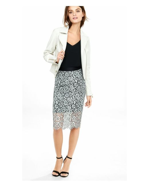 express contrast floral lace pencil skirt in white save