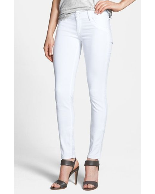hudson skinny stretch jeans in white new white lyst. Black Bedroom Furniture Sets. Home Design Ideas