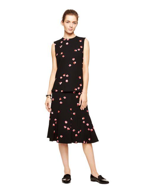 Kate Spade | Black Falling Florals Skirt | Lyst