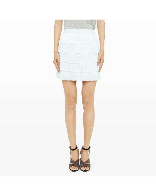 Club Monaco | White Trisa Fringe Skirt | Lyst