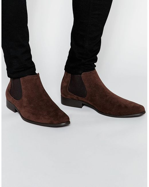 asos chelsea boots in brown faux suede brown in brown