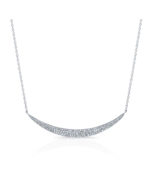 Anne Sisteron - 14kt White Gold Diamond Wide Crescent Necklace - Lyst
