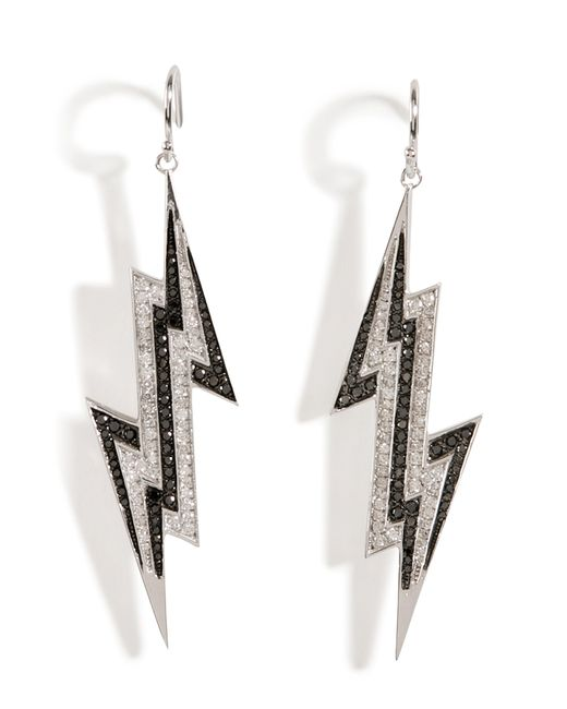 Lynn Ban | Metallic Sterling Silver Lightening Bolt Earrings With Diamonds - Grey | Lyst