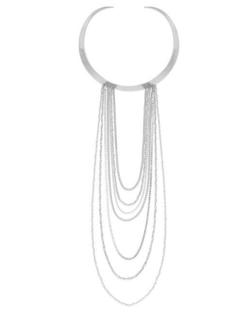 ABS By Allen Schwartz | Metallic Silver-tone Chain Swag Necklace | Lyst