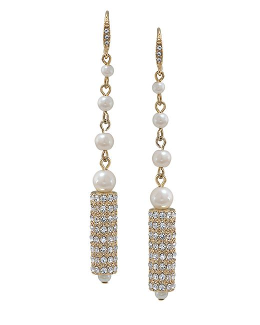 Carolee | Metallic Gold-tone Pave Framed Crystal Double Drop Earrings | Lyst