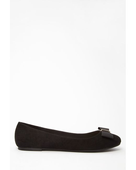 Forever 21 | Black Bow-topped Faux Suede Flats | Lyst