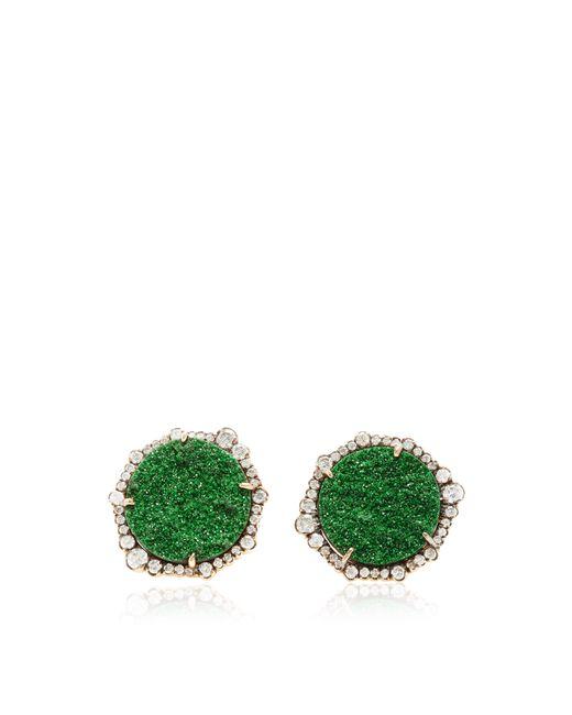 Kimberly Mcdonald   Green Uvarovite Garnet And Signature Irregular Diamond Studs   Lyst