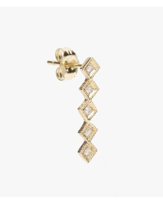 Jennie Kwon | Metallic Diamond Square Long Bar Stud - Single | Lyst