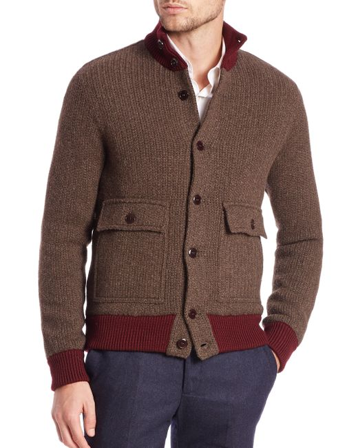 Knitting Pattern Bomber Jacket : Slowear Knit Bomber Jacket in Red for Men (brown) - Save 70% Lyst