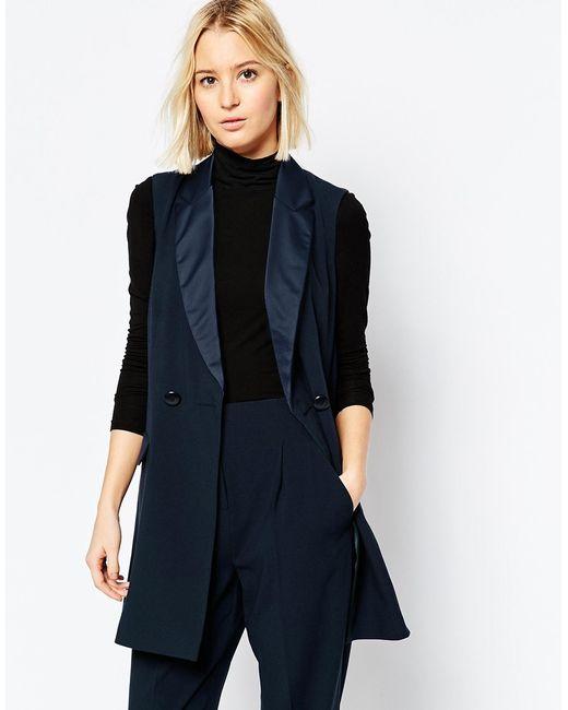 ASOS   Blue Longline Tuxedo Sleeveless Jacket   Lyst