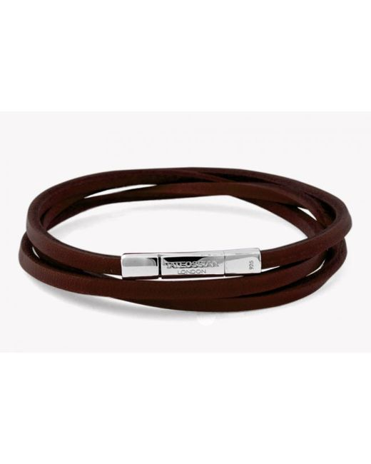 Tateossian | Triple Wrap Fettuccine Bracelet In Brown Leather With Silver Clasp for Men | Lyst