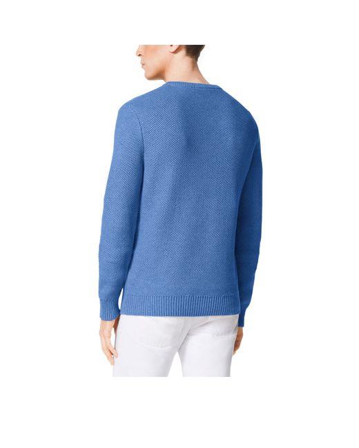 Michael Kors | Blue V-neck Cotton Sweater for Men | Lyst