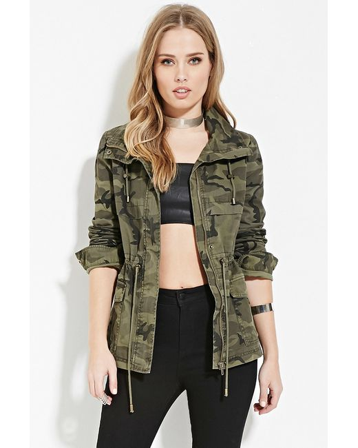 Forever 21 Camo Drawstring Jacket In Green (Olive/black) | Lyst