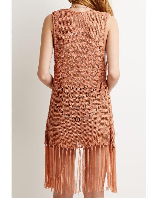 Forever 21   Pink Open-knit Fringe Vest   Lyst