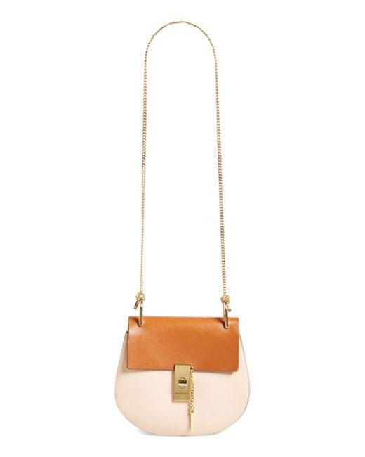 replica chloe handbags - Chlo�� Drew Small Leather Cross-Body Bag in Brown (POWDER BEIGE) | Lyst