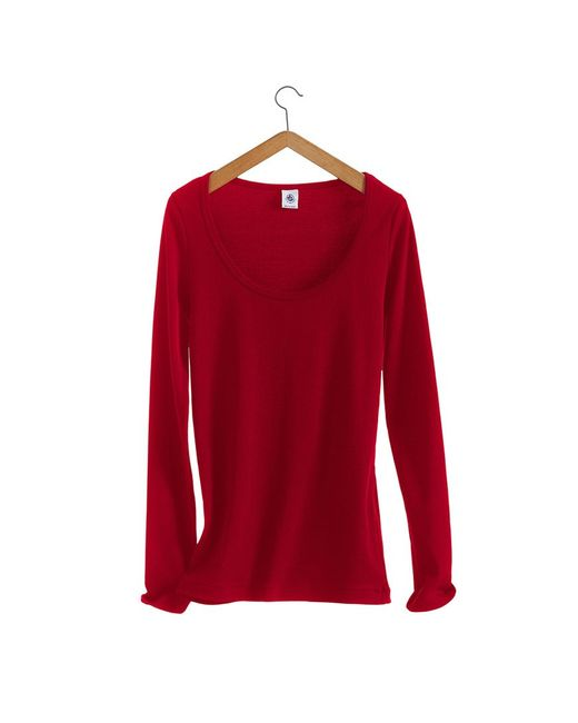 Petit Bateau | Red Women's Long-sleeved, Scoop Neck Tee In Iconic Cotton | Lyst