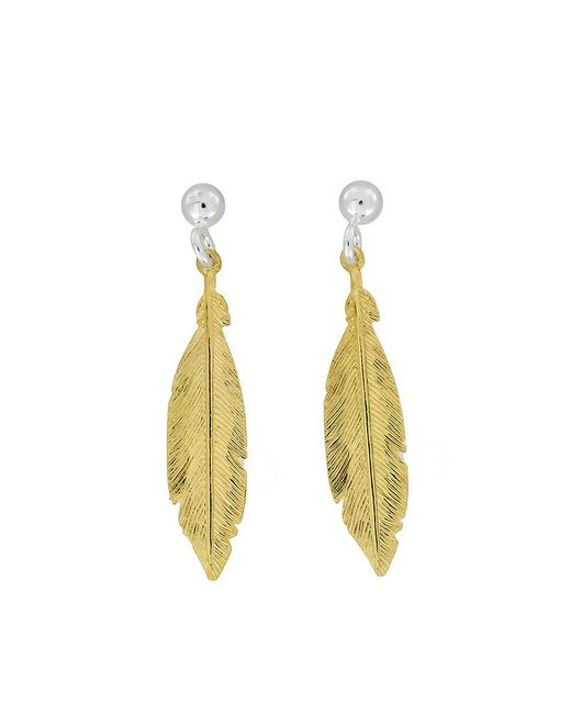 Azendi | Metallic Sterling Silver/18ct Vermeil Feather Earrings | Lyst