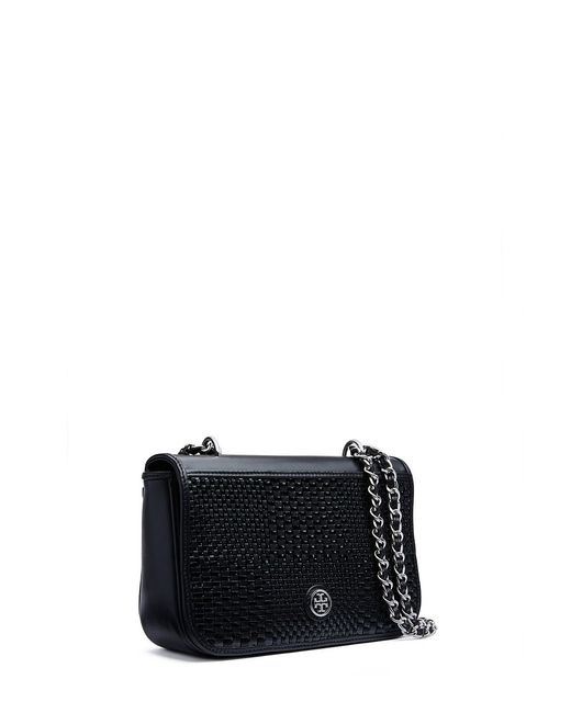 Tory Burch | Black Robinson Woven Adjustable Shoulder Bag | Lyst