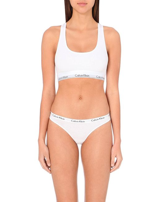 Calvin Klein | White Modern Stretch-cotton Bralette | Lyst