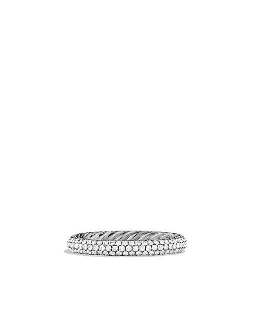 David Yurman | Metallic Wedding Band With Three-rows Diamonds In Platinum | Lyst