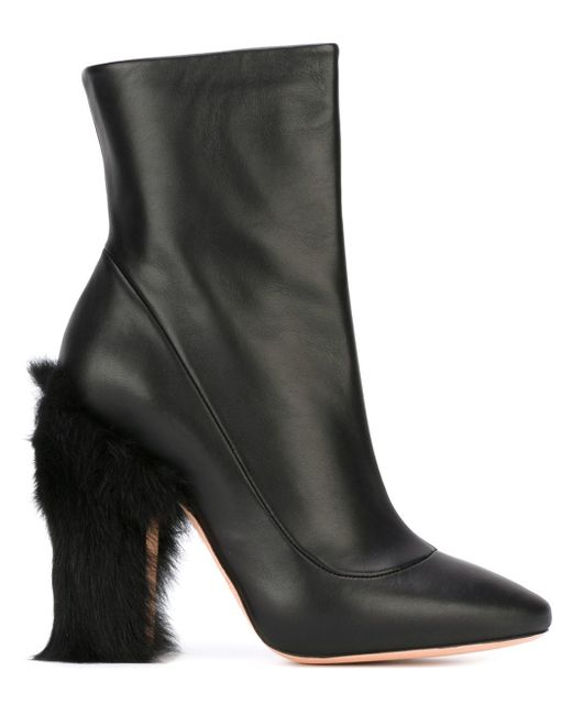 rochas fur heel ankle boots in black save 60 lyst