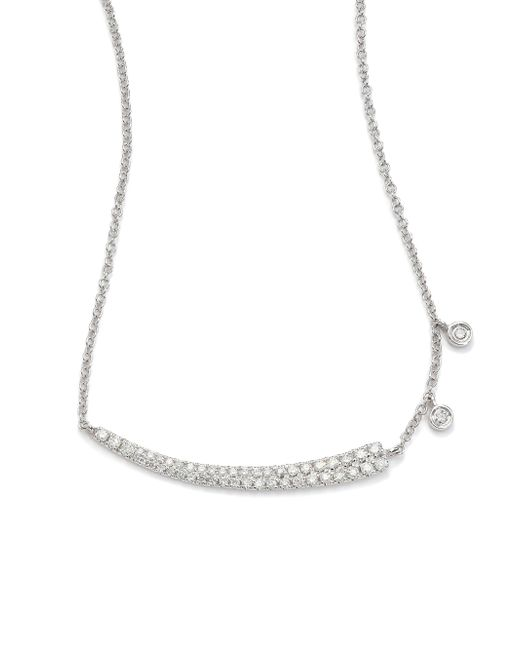 Meira T | Diamond & 14k White Gold Asymmetrical Curved Bar Necklace | Lyst