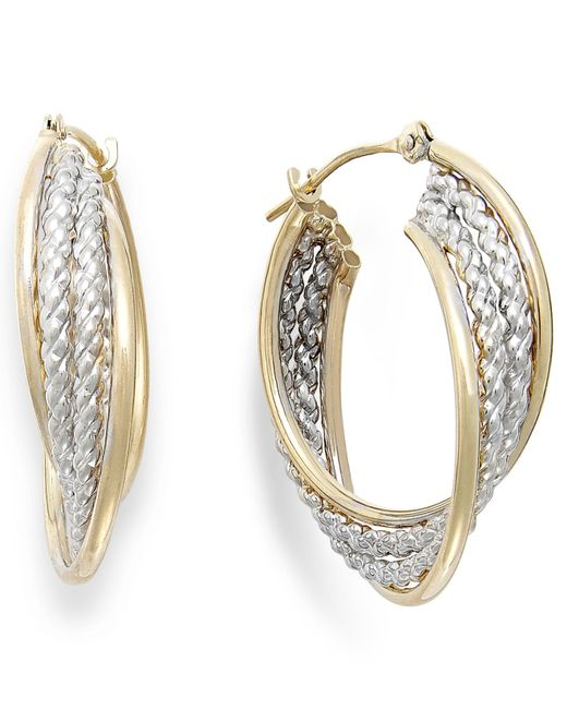Macy's | Metallic Two-tone Rope Hoop Earrings In 10k Gold | Lyst