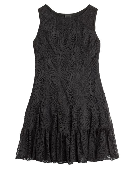 Anna Sui | Stretch Dress With Lace Overlay - Black | Lyst