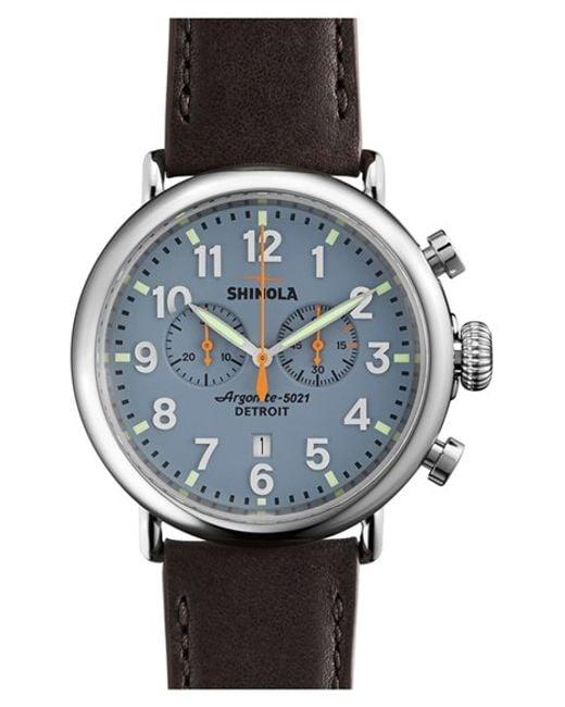 Shinola | Blue 'the Runwell Chrono' Leather Strap Watch for Men | Lyst