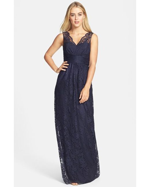 Amsale | Blue Empire Waist Lace Column Gown | Lyst