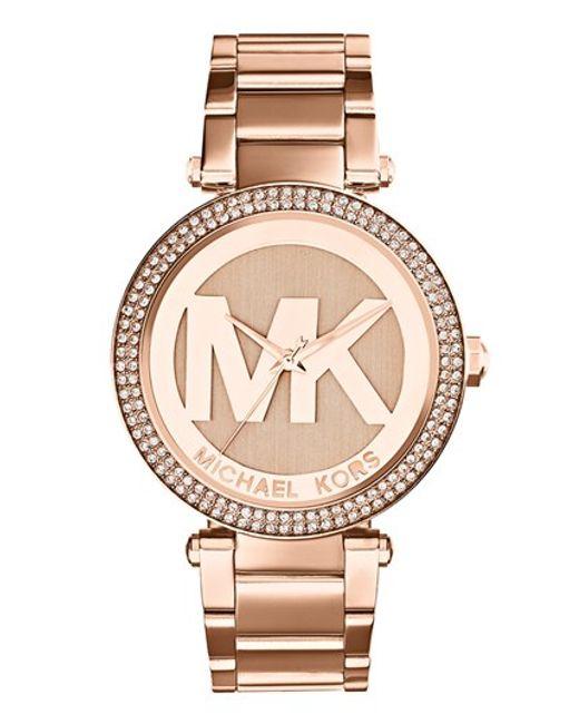MICHAEL Michael Kors | Metallic Michael Kors 'parker' Logo Dial Bracelet Watch | Lyst