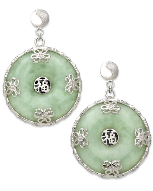 Macy's | Green Sterling Silver Earrings, Jade Circle Flower Overlay Earrings | Lyst