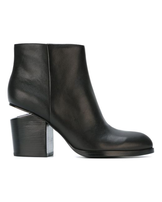 Alexander Wang | Metallic Gabi Leather Silver-Cutout Ankle Boots | Lyst