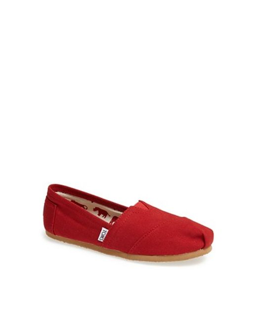 TOMS | Red 'classic' Canvas Slip-on | Lyst
