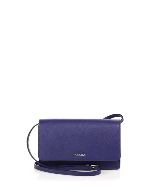 Prada | Blue Saffiano Lux Small Crossbody Bag | Lyst