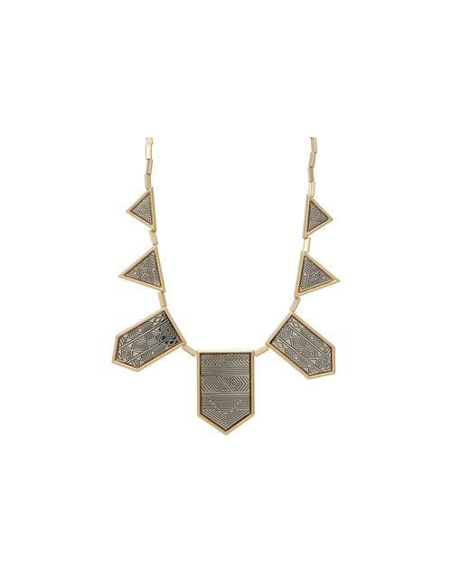 House of Harlow 1960   Metallic Engraved Classic Station Necklace   Lyst