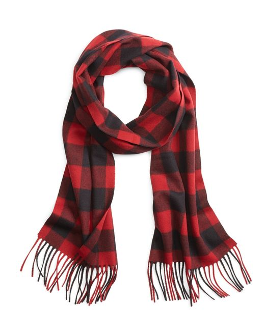 Brooks Brothers | Red Saxxon Wool Buffalo Check Scarf for Men | Lyst