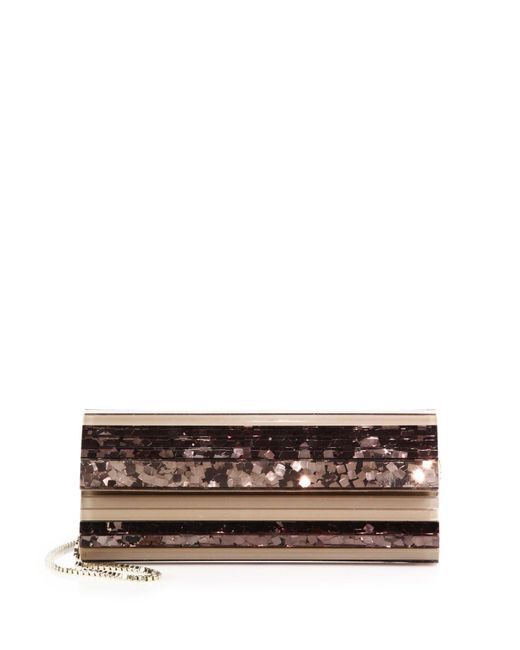 Jimmy Choo | Gold Sweetie Striped Sequined Acrylic Clutch | Lyst