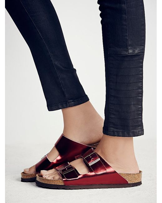 Free People | Red Arizona Metallic-Leather Birkenstocks | Lyst