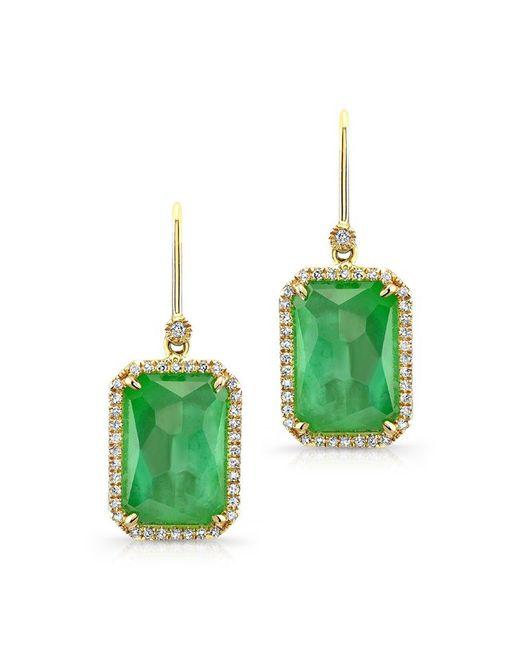 Anne Sisteron - Metallic 14kt Yellow Gold Mint Green Tourmaline Diamond Earrings - Lyst