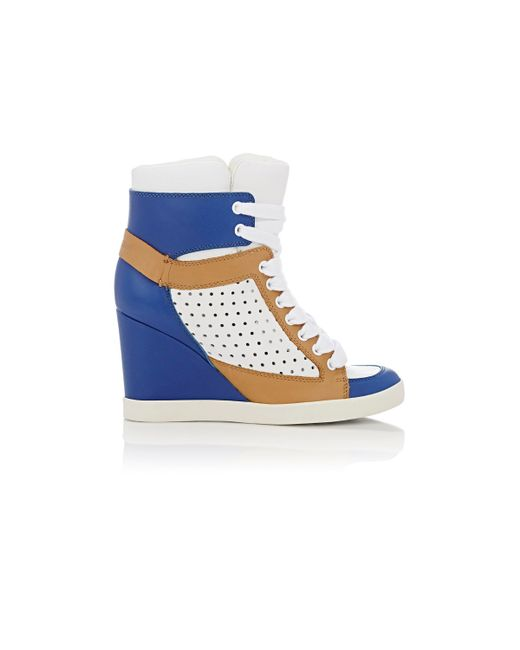 see by chlo women 39 s wedge high top sneakers in blue lyst. Black Bedroom Furniture Sets. Home Design Ideas