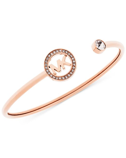 Michael Kors | Pink Crystal Logo Cuff Bangle Bracelet | Lyst