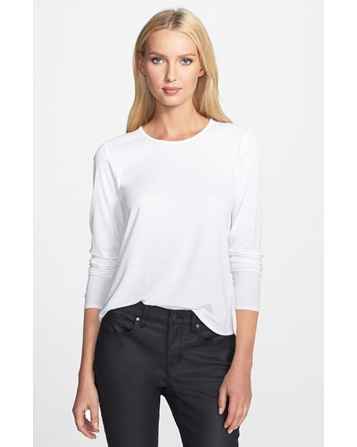 Eileen Fisher | White Silk Tee | Lyst