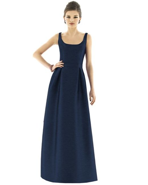 Alfred sung Scoop-Neck Dupioni Full-Length Dress in Blue ...