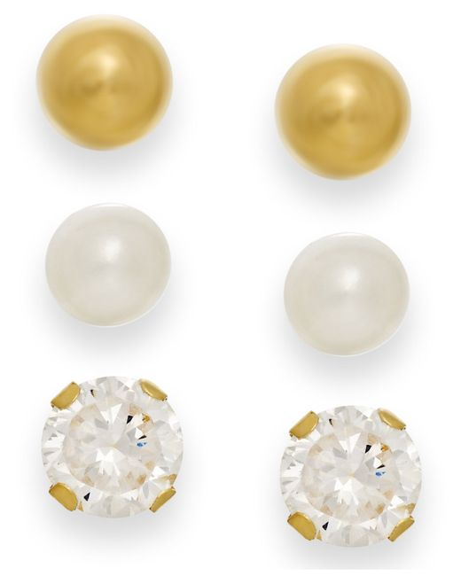 Macy's | Metallic Cultured Freshwater Pearl, Cubic Zirconia And Ball Stud Set In 10k Gold | Lyst