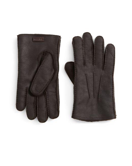 Prada | Brown Shearling Gloves for Men | Lyst