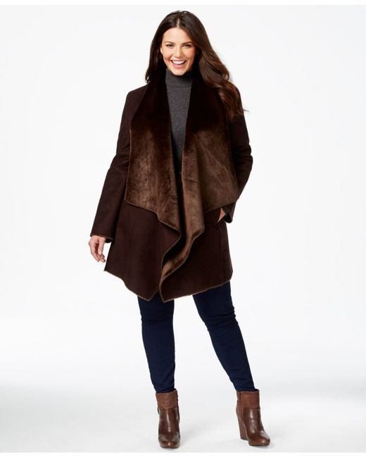 Calvin Klein Plus Size Draped Faux Shearling Coat In Brown