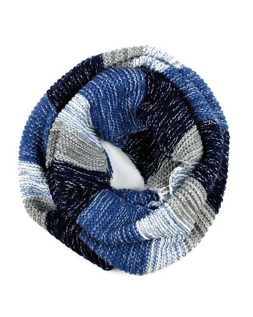 Michael Stars | Blue Knit Acrylic Stripe Eternity Scarf | Lyst
