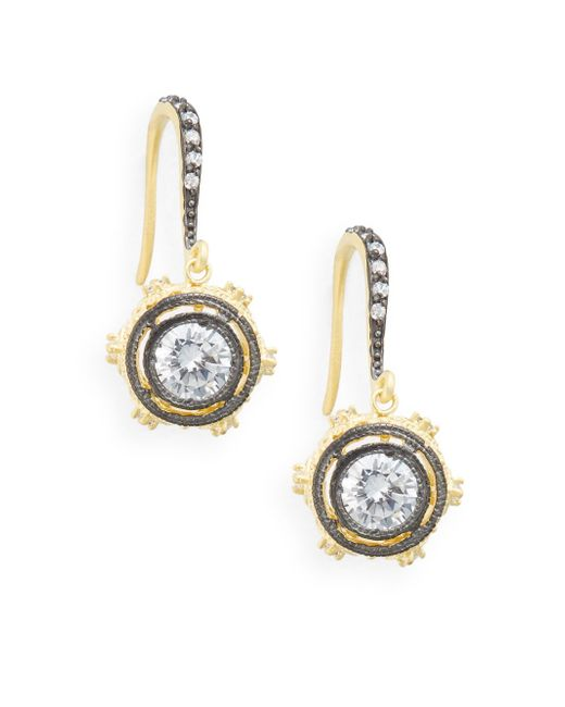 Freida Rothman | Metallic Two-tone Sparkle Drop Earrings | Lyst